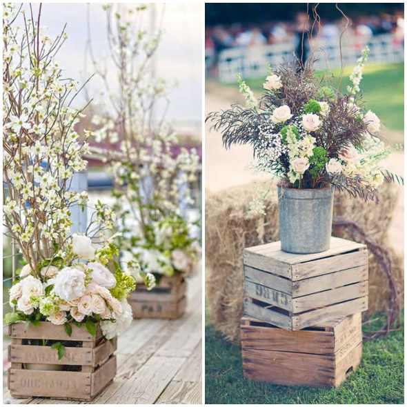 Decoração para casamento com caixotes de madeira