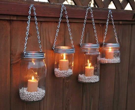 Decoração com potes de vidro para casamento