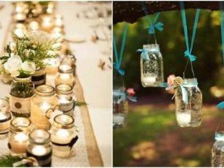 30 ideias de decoração com potes de vidro para casamento