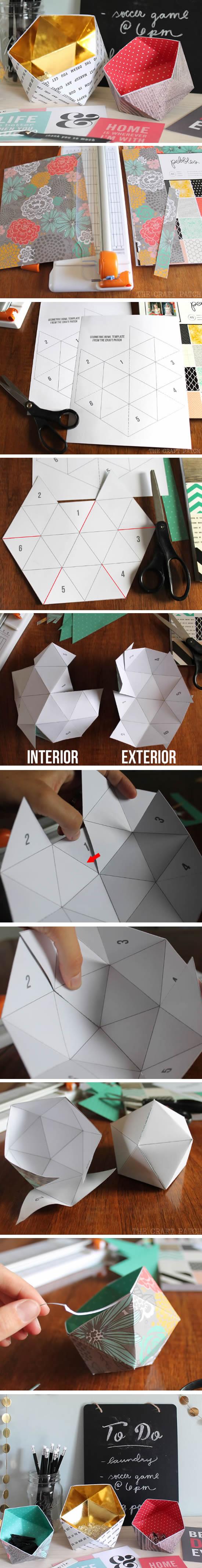 Enfeite de papel com moldes
