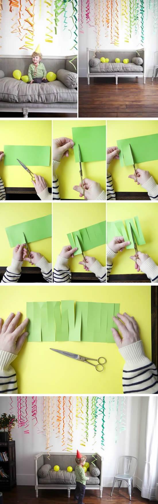 Enfeites de papel para festa com moldes
