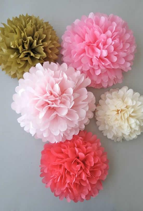 Flores de papel seda passo a passo