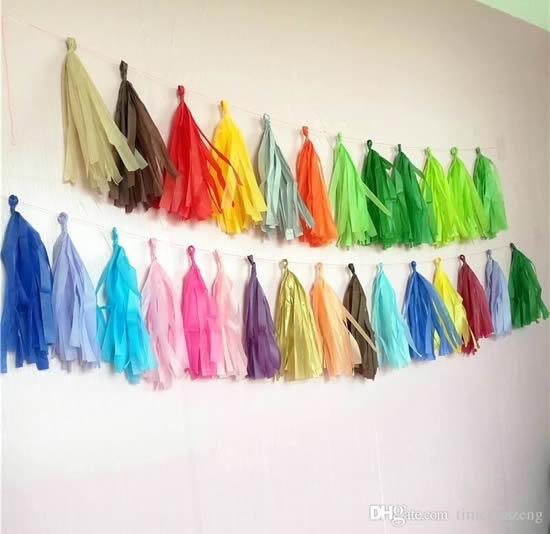 Vassourinhas de papel para decoração