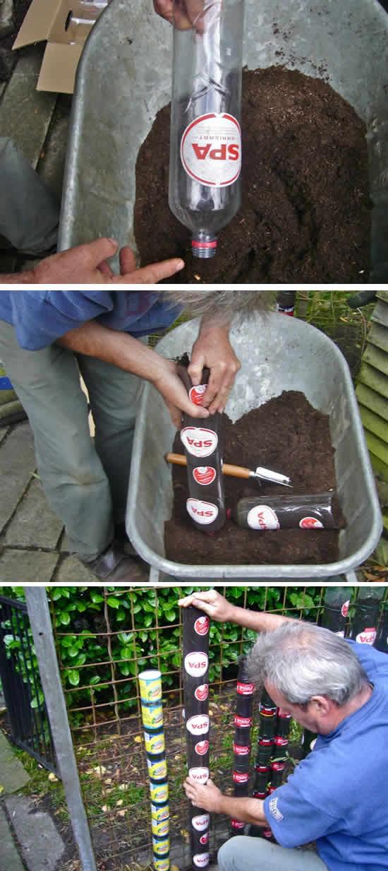 Como fazer horta vertical com garrafa plástica