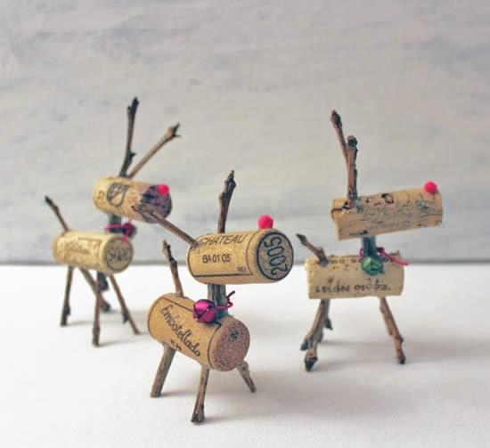 Lindos enfeites de Natal com rolhas