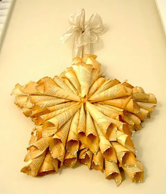 Estrela de Natal com reciclagem