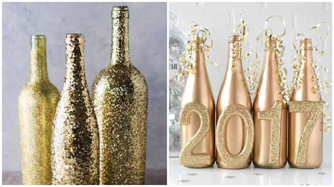 Decoração com garrafas para o ano novo