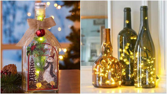 Decoração com garrafas e pisca-pisca para Natal