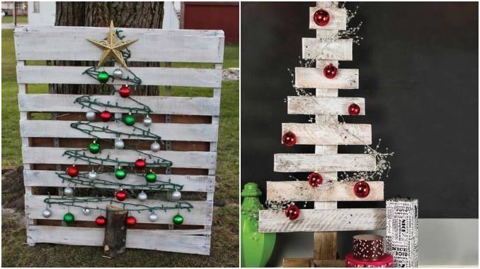 Árvores de Natal com pallets de madeira