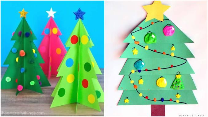 Árvore de Natal de papel para fazer com crianças