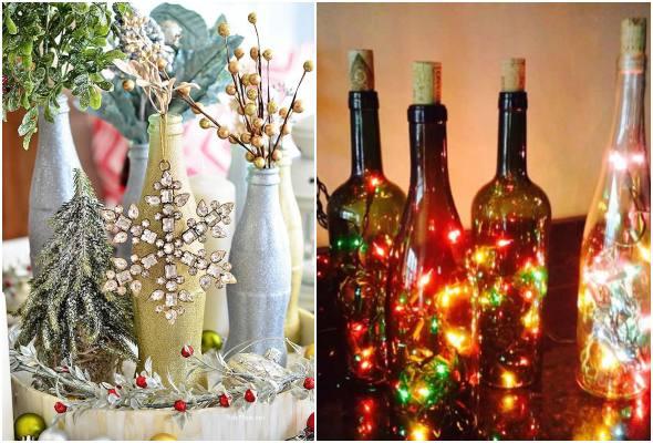 Enfeites com garrafas de vidro para Natal