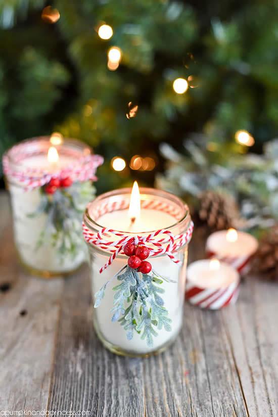 Velas enfeitadas para Natal em potes de vidro
