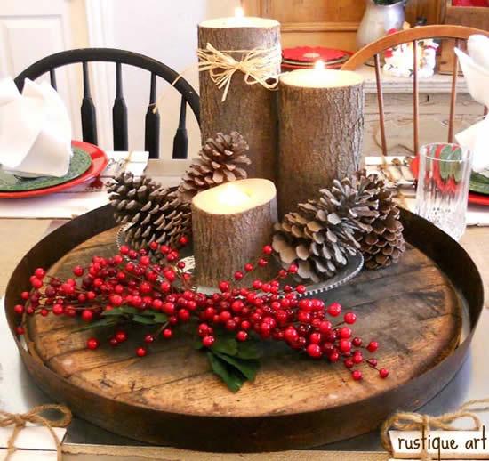 Velas enfeitadas para Natal