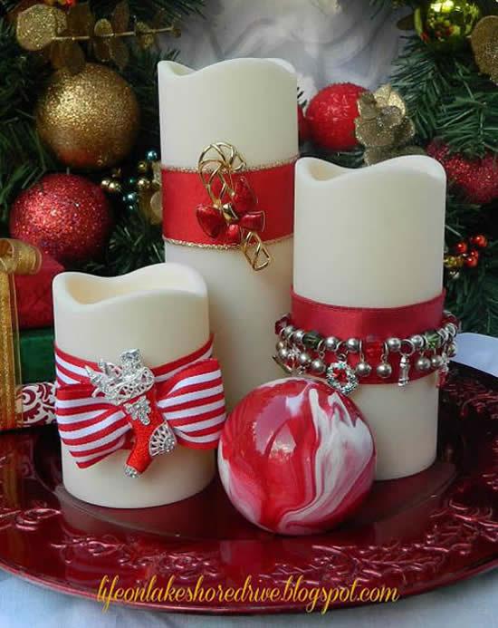 Velas de Natal decoradas