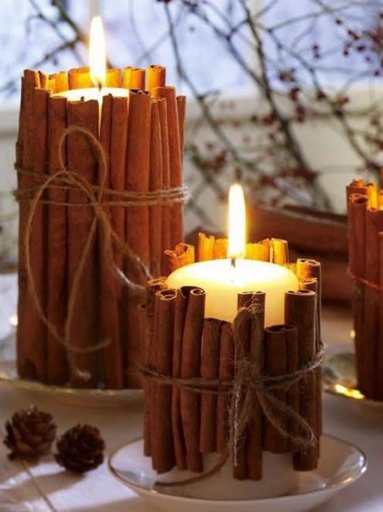 Velas decoradas com canela