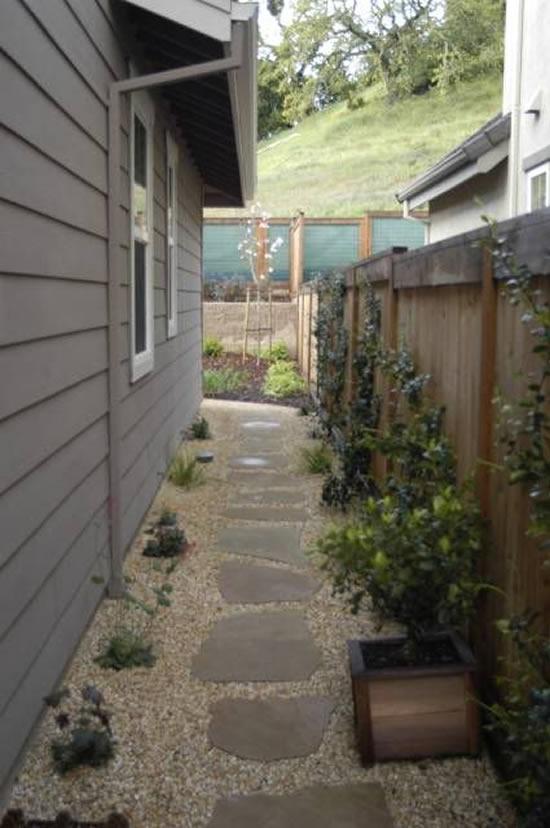 Decoração de jardim com caminho
