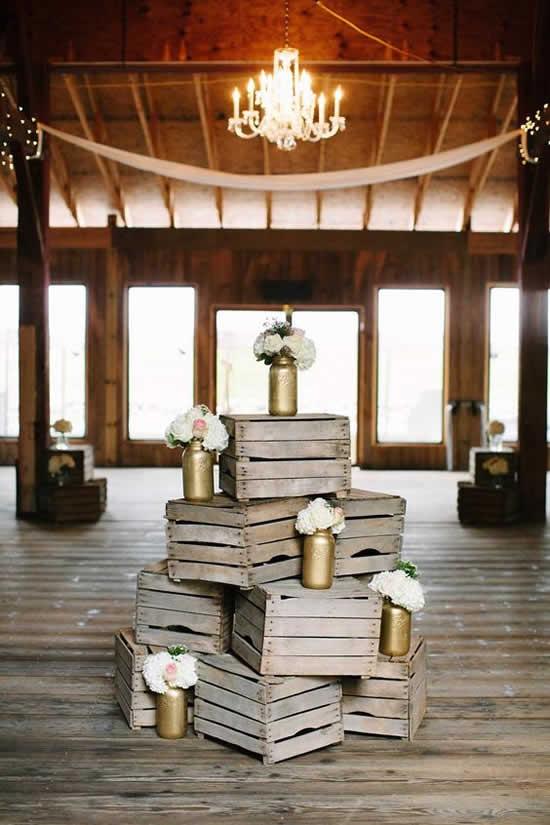 Linda decoração com caixotes