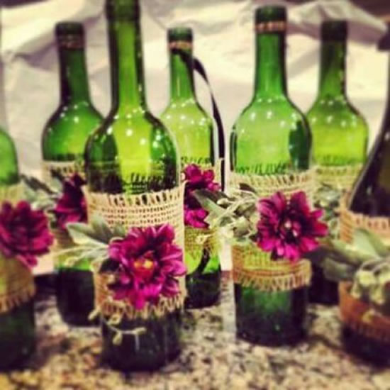Decoração de garrafas com juta