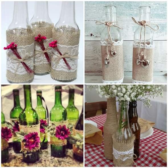 14 maneiras de decorar garrafas com juta