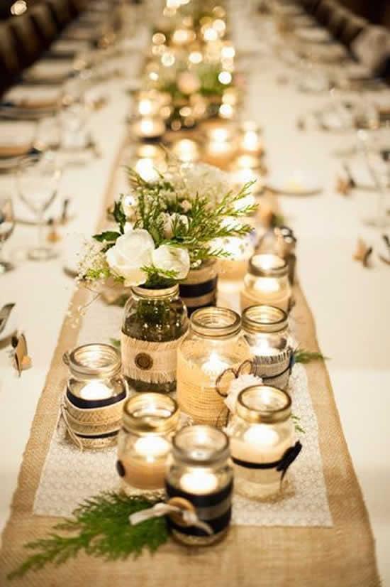 Decoração de mesa para casamento com potes