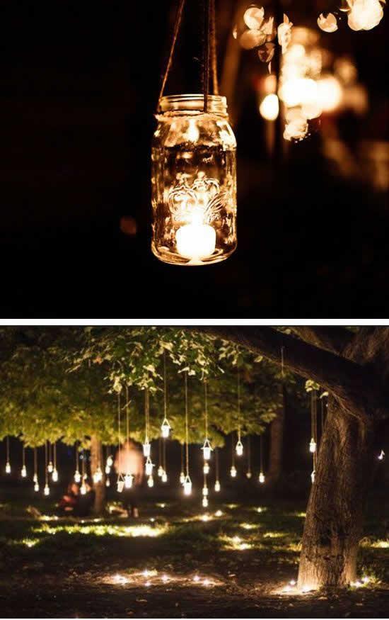 Luminárias com potes para casamento