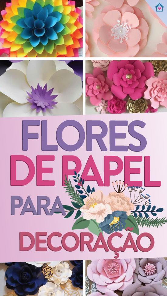 Decoração com flores de papel com moldes