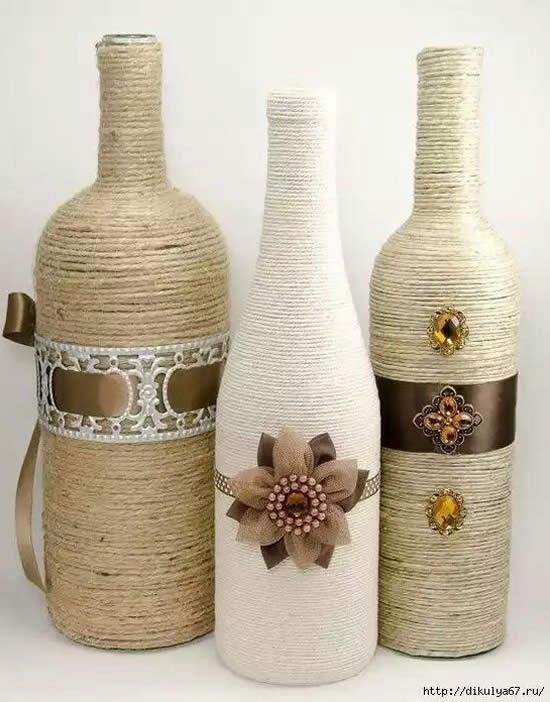 Decoração de garrafas de maneira linda