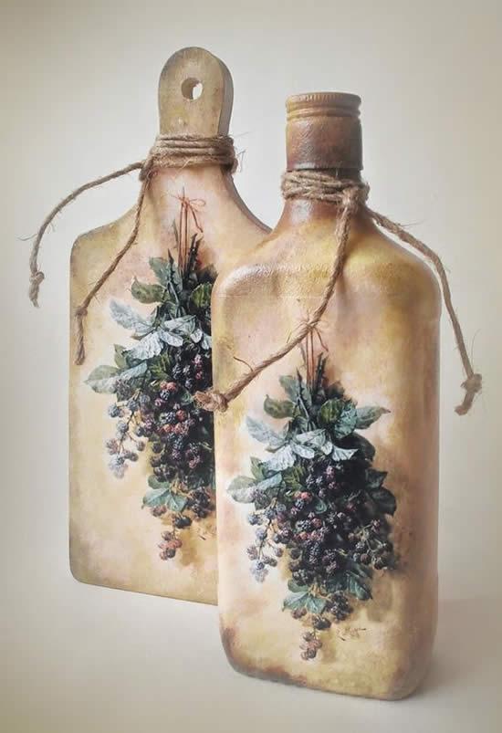 Decoração linda com garrafas