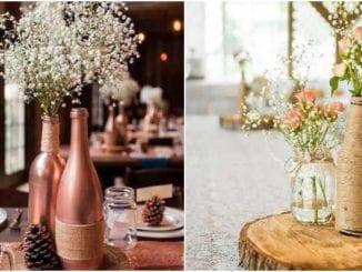 Decoração simples para casamento com garrafas
