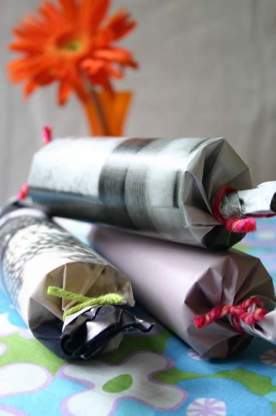 Lembrancinhas com rolos de papel
