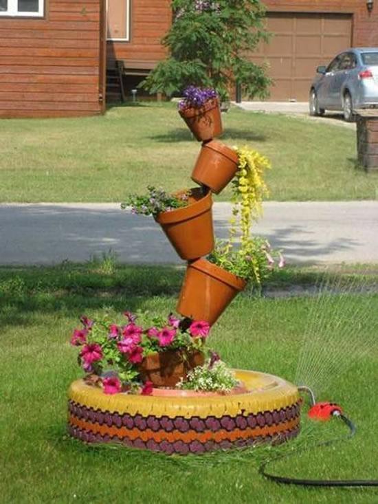 Decoração linda com pneu velho para jardim