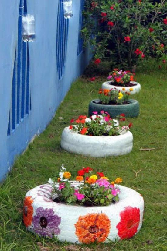 Decoração com pneus velhos para jardim