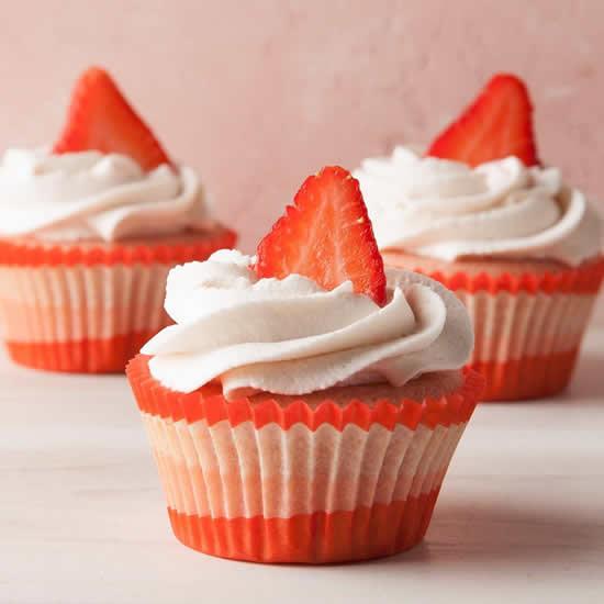 Cupcakes de morango decorados