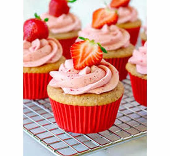 Cupcakes de morango para festas