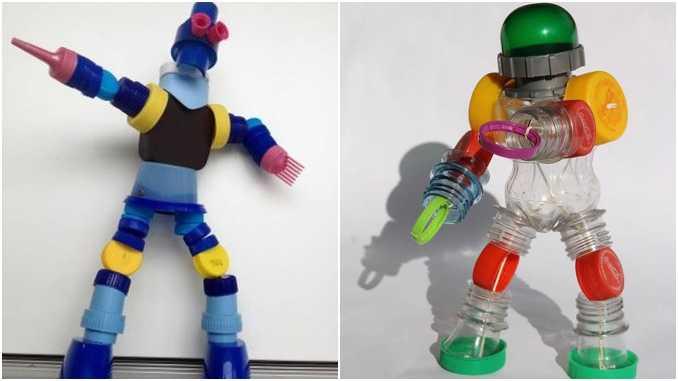 Bonecos com tampa de garrafa PET
