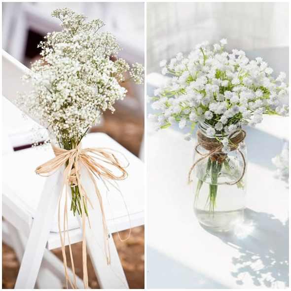 Decoração para casamento com flores mosquitinho