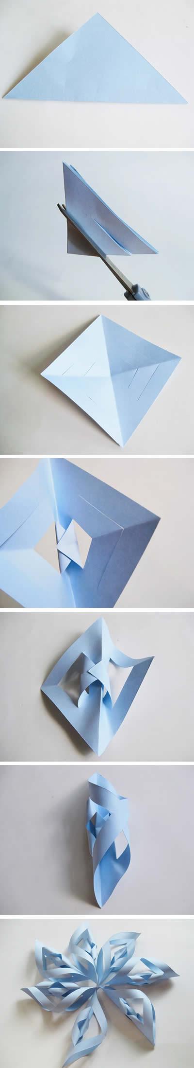 Floco de neve de papel - Enfeite para decoração de festa - passo a passo
