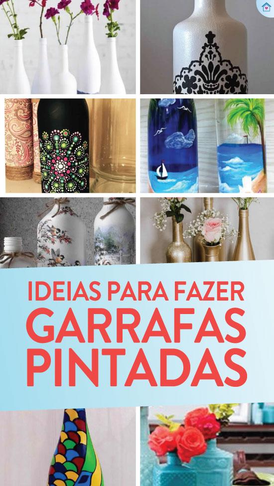 20 ideias lindas de garrafas pintadas