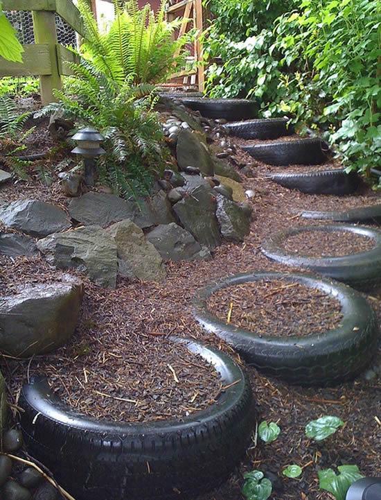 Reaproveite pneus velhos para decorar