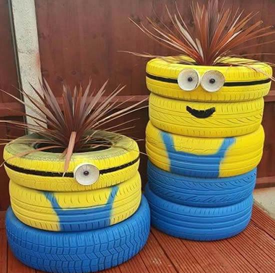 Ideias com pneus para decoração