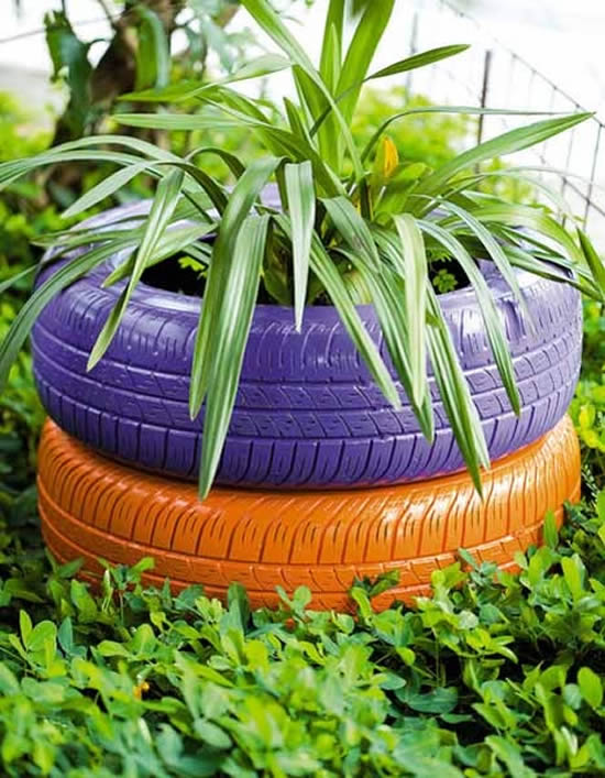 Decoração com reciclagem de pneus