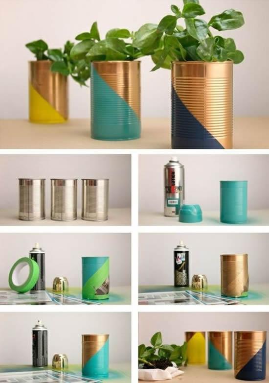 Decore seu jardim com vasos de latas