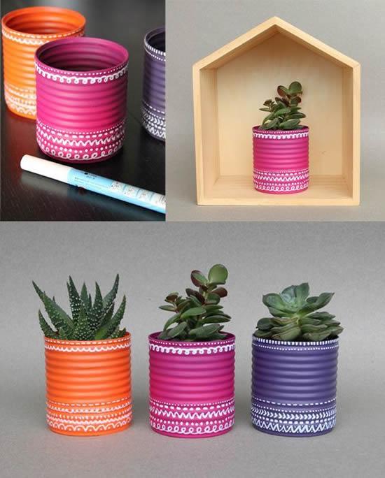 Mini suculentas lindas em latas