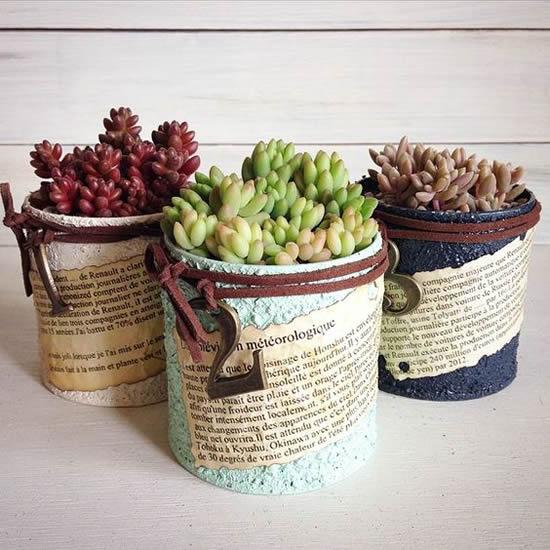 Improvise plantando suculentas em latas
