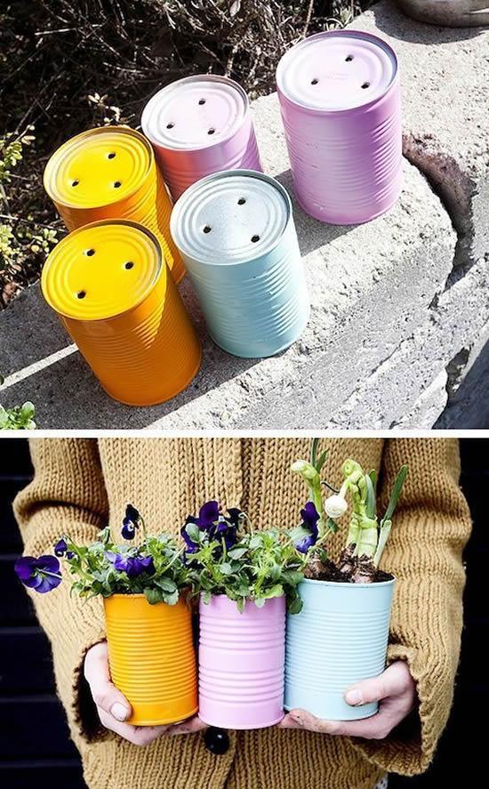 Vasos com latas para decoração