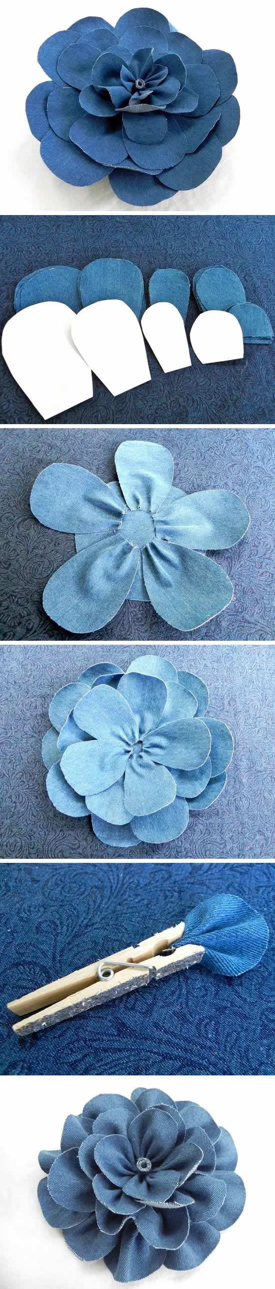 Veja como fazer flores com tecido jeans