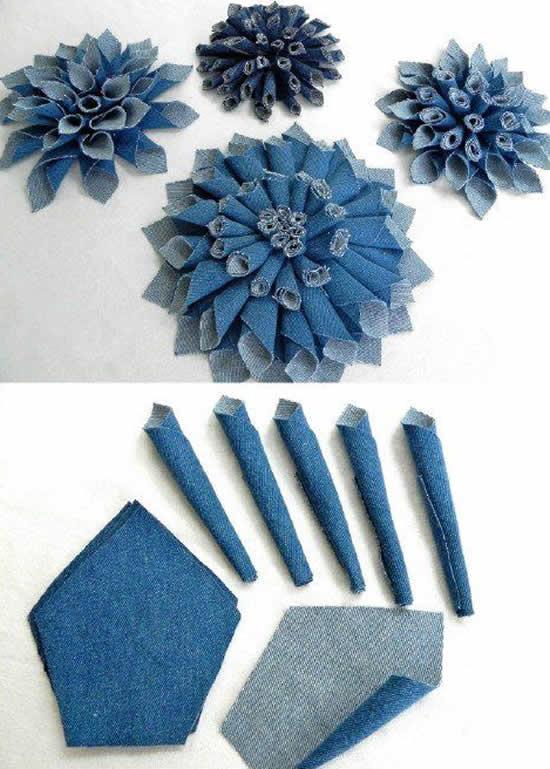 Passo a passo de flor com tecido jeans