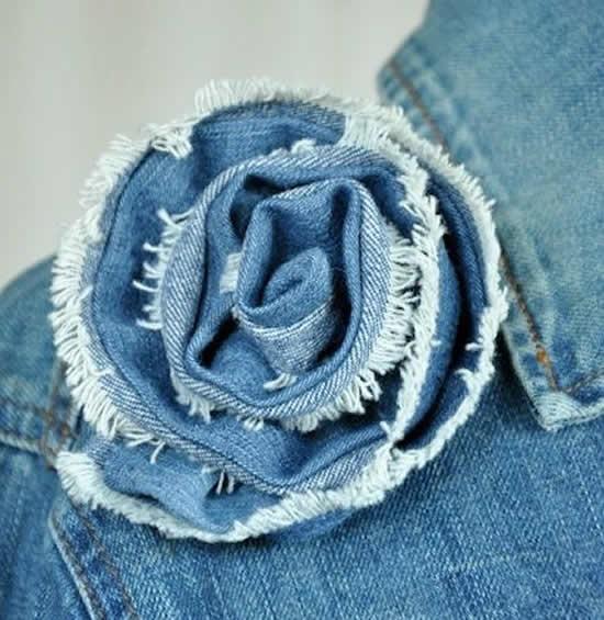 Flor de tecido jeans