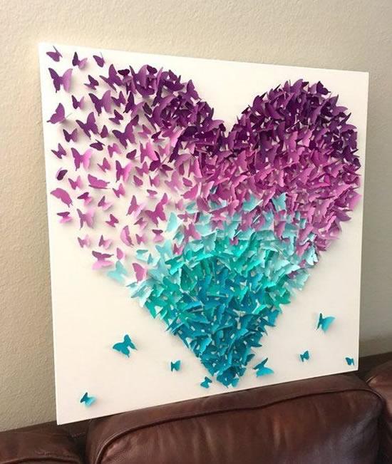 Quadro lindo com borboletas de papel