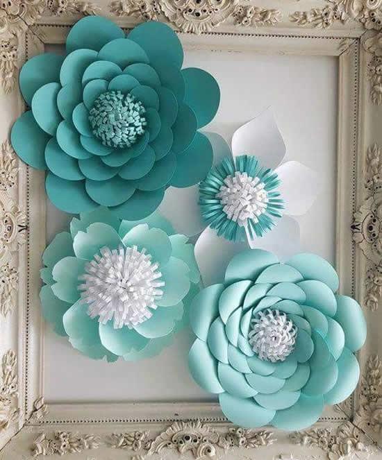 Flor de papel para decoração de casamento